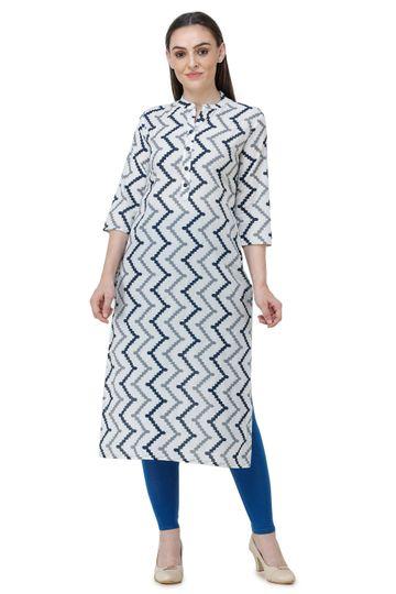 Lavanya | White & Blue Lavanya Printed Straight Kurta