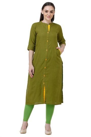 Lavanya | Mehndi Green Lavanya Printed Straight Kurta