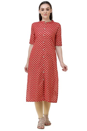 Lavanya | Red Lavanya Printed Straight Kurta