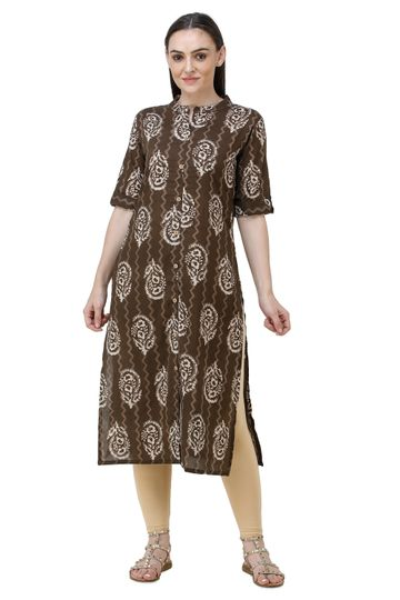 Lavanya | Brown Lavanya Printed Straight Kurta