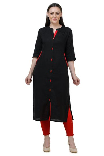Lavanya | Black Lavanya Plain Solid Straight Kurta