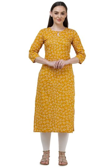 Lavanya | Yellow Lavanya Printed Straight Kurta