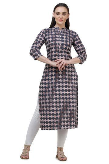 Lavanya | Dark Grey Lavanya Printed Straight Kurta