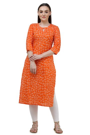 Lavanya | Orange Lavanya Printed Straight Kurta