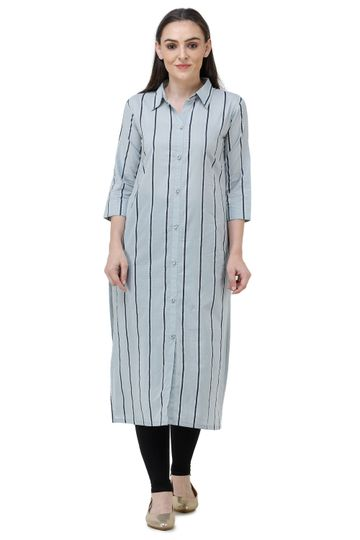 Lavanya | Light Grey Lavanya Printed Straight Kurta
