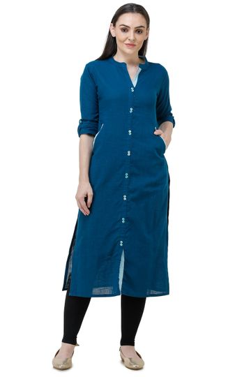 Lavanya | Royal Blue Lavanya Plain Solid Straight Kurta