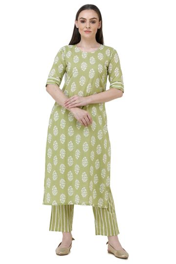 Lavanya | Light Green Printed Straight Kurta With Palazzo