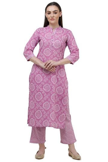 Lavanya | Light Pink Printed Straight Kurta With Palazzo
