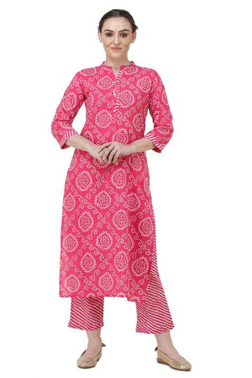 Lavanya | Pink Printed Straight Kurta With Palazzo
