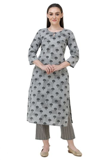 Lavanya | Grey Printed Straight Kurta With Palazzo