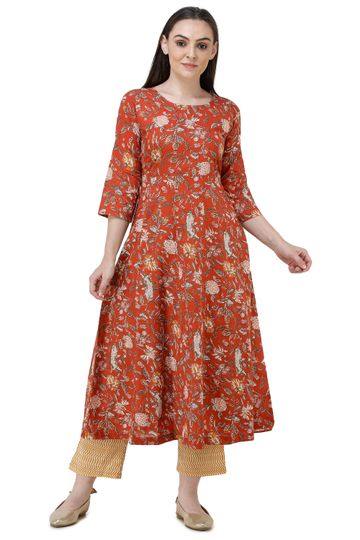 Lavanya | Red Printed Anarkali Kurta with Palazzo