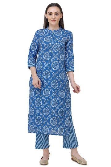 Lavanya | Royal Blue Printed Straight Kurta With Palazzo