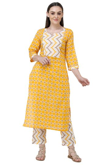 Lavanya | Yellow Printed Straight Kurta With Palazzo