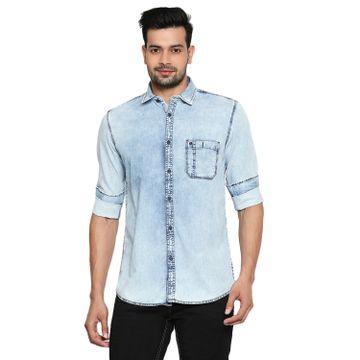 LAWMAN Pg3 | Lawman Pg3 Casual Slim Fit Denim Solid Light Blue Mens Shirt