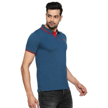 LAWMAN Pg3 | Lawman Pg3 Casual Polo Neck Short Sleeve Regular Fit Solid Sld-Teal Blue  Shade Color Mens T-Shirt