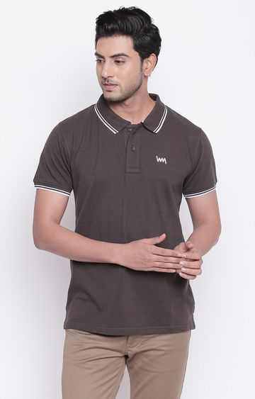 LAWMAN Pg3 | Brown Solid Polo T-Shirt