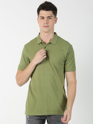 Blue Saint | Blue Saint Men's Solid Green T-Shirt