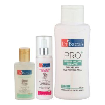 Dr Batra's | Dr Batra's Hair Fall Control Serum-125 ml, Conditioner - 100 ml and Pro+ Intense Volume Shampoo - 500 ml
