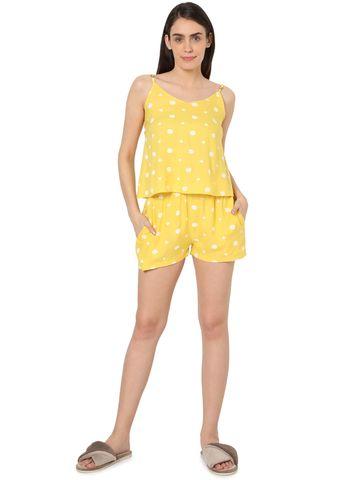 Smarty Pants | Smarty Pants women's cotton pastel yellow color heart & polka dot print night suit