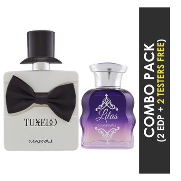 Maryaj | Maryaj Tuxedo Eau De Parfum Spicy Woody Perfume 100ml for Men and Maryaj Lilas Eau De Parfum Citrus Floral Perfume 100ml for Women + 2 Parfum Testers FREE