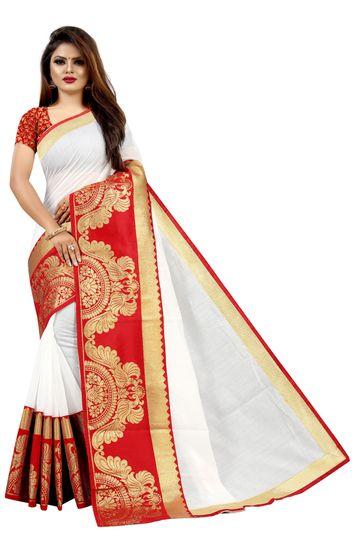 JINAL & JINAL   JJ Women's Chanderi Cotton Saree - TT WHITE RP