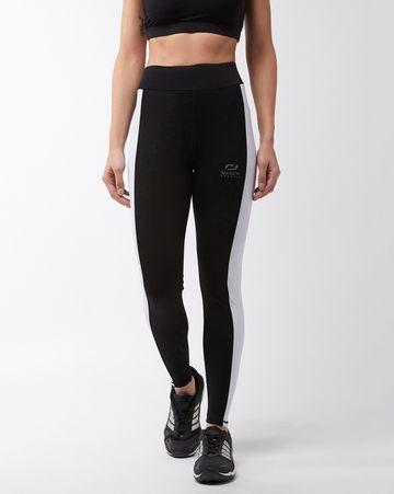Masch Sports | Masch Sports Women's Solid Sports Running/Regular/Sports/Gym Wear Tights with Wide White Side Stripe