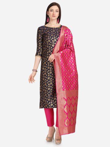 SATIMA | Navy Blue Weaving Jaquard Silk Dress Material