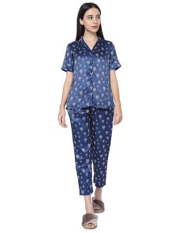 Smarty Pants | Smarty Pants women's silk satin navy blue parachute print night suit