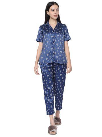Smarty Pants | Smarty Pants women's silk satin navy blue parachute print night suit