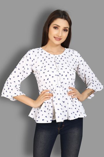 JINAL & JINAL | Party Flared Sleeve Printed Women White Top - WHITE D