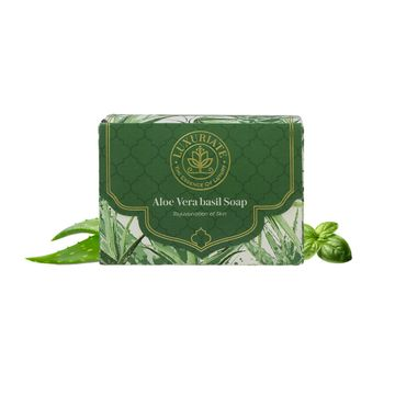 LUXURIATE | LUXURIATE Naturally Refreshing Aloe Vera and Basil Soaps for Rejuvenation of Skin for Men and Women,125 gm