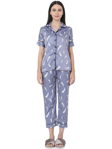 Smarty Pants | Smarty Pants women's silk satin Lavender color feather print night suit