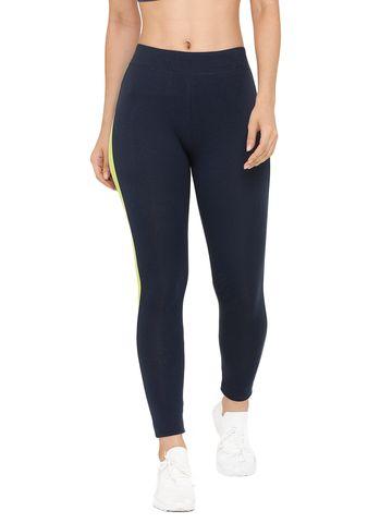 De Moza   De Moza Women's Sporty Activewear Leggings Solid Cotton Navy Blue