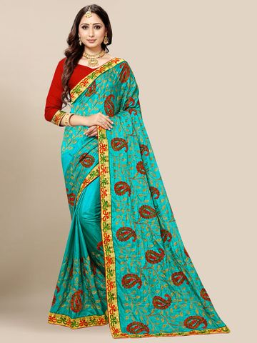 SATIMA | Women's Turquoise Embroidered Silk Blend Saree
