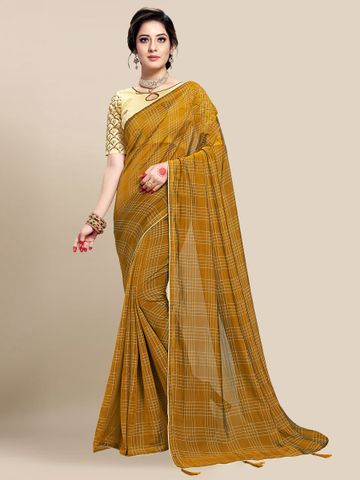 SATIMA | WOMEN'S MUSTARD SELF DESIGN PRINTED GEORGETTE SAREE