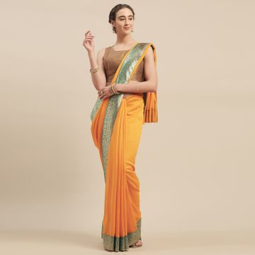 SATIMA | Satima YellowGeorgetteWeaving Border Saree