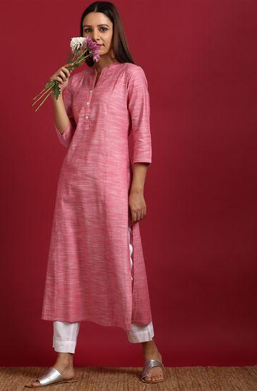 Janasya | Janasya Women's Pink Cotton Flex Kurta with Side Pocket