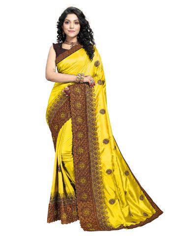 SATIMA | Designer Yellow Silk Blend Self-Design Embroidered Saree