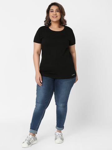 Marca Bold | Black Embellished Basic Regular Fit T-shirt