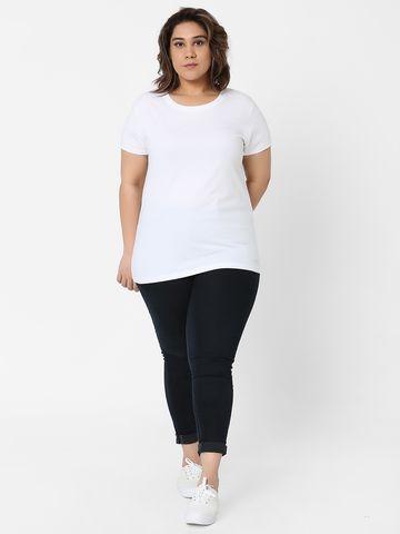 Marca Bold | White Cotton Basic Embellished T-shirt