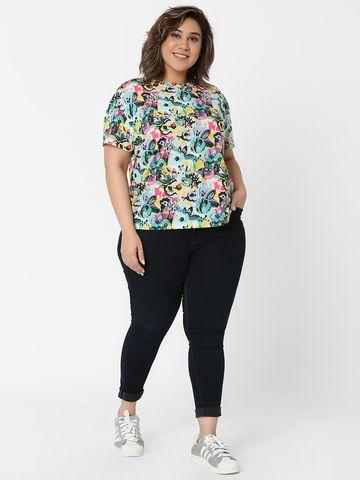 Marca Bold   Multi Boxy Printed Crop T-shirt