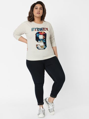 Marca Bold | Ecru Melange Velvet Applique T-shirt