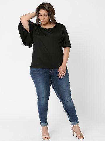 Marca Bold | Black Flutter Sleeves Solid T-shirt