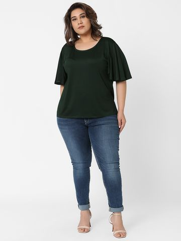 Marca Bold | Pine Green Flutter Sleeves Solid T-shirt