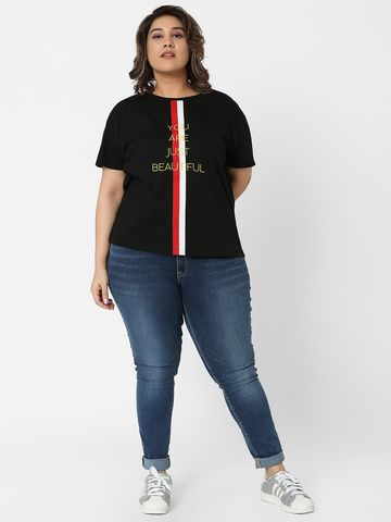 Marca Bold | Black Embroidered Tape Boxy T-shirt