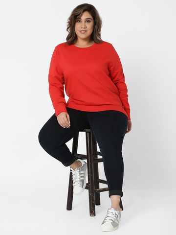 Marca Bold | Red Embellished Round Neck Sweatshirt