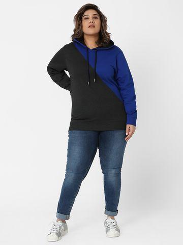 Marca Bold | Anthra Mellange Panelled Hooded Sweatshirt