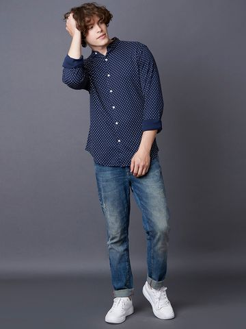 MARCA DISATI | Navy Printed Casual Shirt