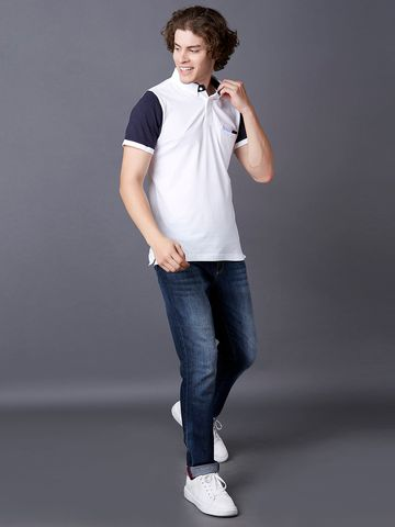 MARCA DISATI | White Solid Polo T-Shirt