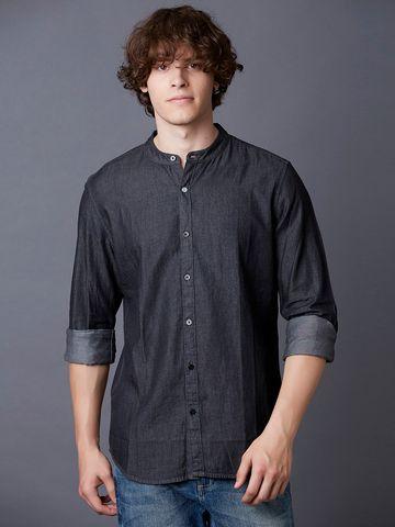 MARCA DISATI | Mandarin Collar Denim Shirt